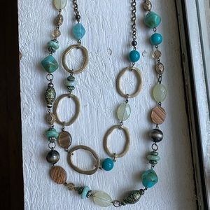 Premier Designs turquoise brown and gold necklace
